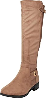 Cambridge Select Women's Strappy Chunky Block Heel Knee-High Riding Boot