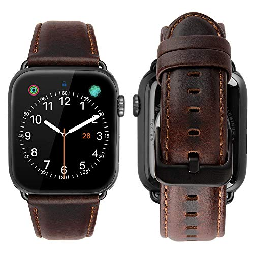 iBazal Compatible with Apple Watch Band 42mm 44mm,Genuine Leather Strap Replacement for iWatch Series 5 Series 4 Series 3 Series 2 Series 1 42mm Sports&Edition Men Women-42/44mm Coffee+Black Clasp