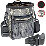 Tactical Dog Training Pouch Pet Treats Bag for Puppy Small Large Dogs Treat Pouch Waist Bag Treat Tote Carry Toys Kibble Snacks with Waist Belt Shoulder Strap Poop Bag Dispenser (Camouflage Color)