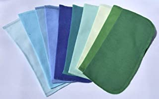 1 Ply Solid Color Flannel 8x8 Inches Little Wipes Set of 10 Assorted Blues and Greens