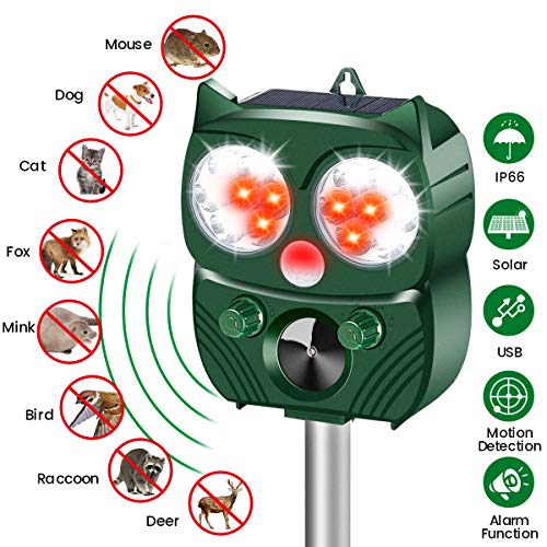 MOHOO Utraschall Abwehr mit Solarbetrieb und Blitz Katzenschreck Solar für garten Wetterfest 5 Modus Einstellbar Tiervertreiber gegen Katzen, Hunde, Marder, Mäuse, Tierabwehr, Schädlinge, marderabwehr