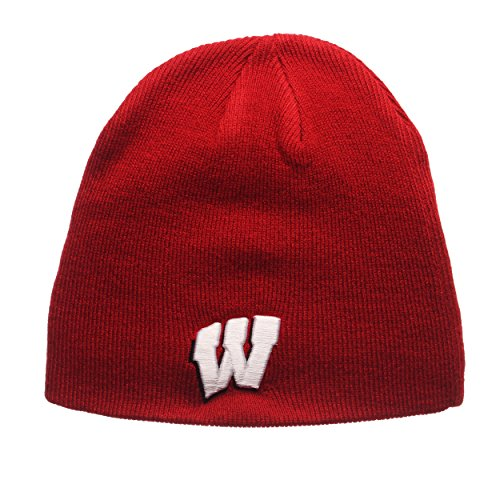 Zephyr Wisconsin Badgers Red Edge Skull Cap - NCAA Cuffless Winter Knit Beanie Toque Hat
