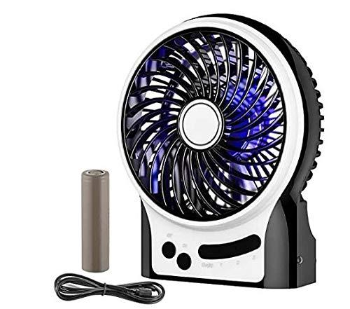 Mini Desktop USB Ventilator Personal Fan mit 2600 mAh aufladbarer Batterie Akku LED-Licht Beweglicher 3 einstellbare Geschwindigkeiten für Indoor und Aktivitäten Outdoor - Schwarz