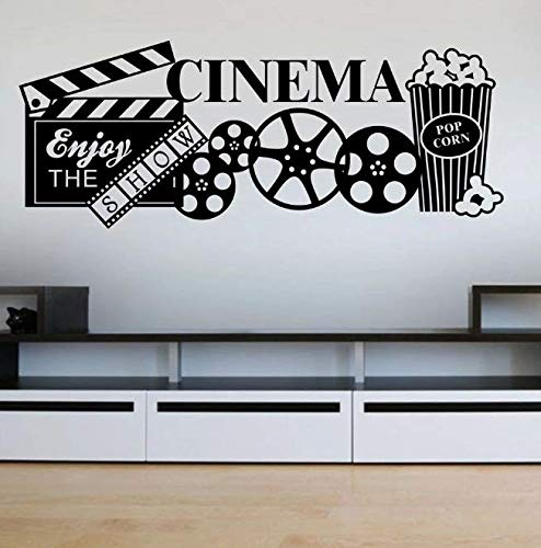 Vinilo Home Cinema Etiqueta de la pared Teatro Palomitas de maíz Tatuajes de pared Película Ocio Decoración de la habitación Arte extraíble Decoración de la pared Papel tapiz 57 * 23Cm