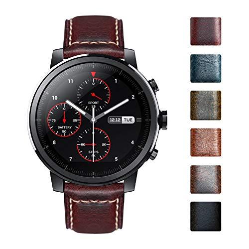 Bandas de Reloj compatibles con Amazfit Bip/GTS/GTR 42mm 47mm/Amazfit Pace/Stratos Smartwatch Vintage Oil Wax Correas de Cuero de Cera de Aceite Retro reemplazo 20mm 22mm Pulsera para Hombres Mujer