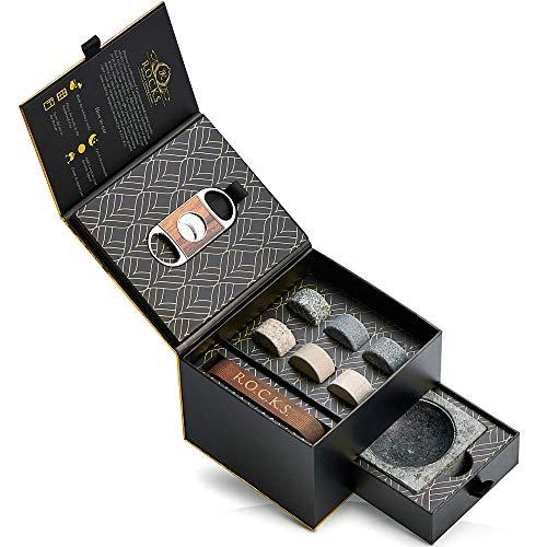 Whisky Steine Geschenkset mit Zigarrenschneider & Zigarren Aschenbecher - 6 Handgefertigte Premium-Granitsteine - Luxuriöse Whiskey & Zigarren Zubehör Goldfolien Geschenkbox