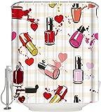 CJSZSD Esmalte de uñas cosmético, Cortina de Ducha Impermeable de Dibujos Animados para Mujer, Tela de poliéster, Cortinas de baño de Varios tamaños, decoración del hogar, 180 * 180Cm