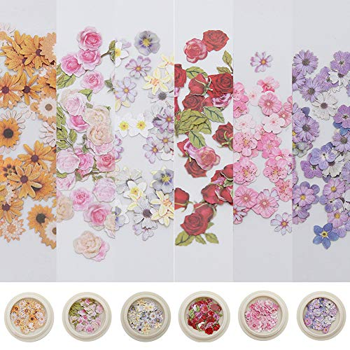 DELENA 6 Boxes 3D Flower Nail Art Sequins Decals Colorful Mixed Flowers Leaves,Holographic Nail Art Kit Holographic Face Body Confetti for Nail Art Tips Decor DIY Crafting