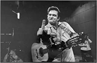 Johnny Cash Middle Finger Guitar Black White Poster Wall Decor Art Print Multi-Size Option Photo Paper Material Not Be FA