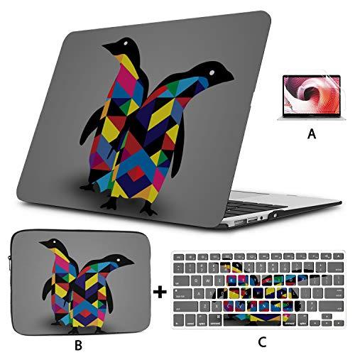MacBook 15 Case Penguin Design Eps 10 Mackbook Pro Case Hard Shell Mac Air 11'/13' Pro 13'/15'/16' with Notebook Sleeve Bag for MacBook 2008-2020 Version