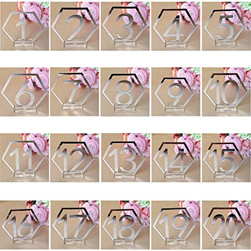 Fautly - Juego de números de mesa de acrílico hexagonal, 20 unidades / 40 unidades de centro de mesa de banquete de plata dorada