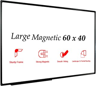 JILoffice Large Magnetic White Board, Dry Erase Board 60 x 40 Inch, Black Aluminium Frame Wall Mounted Board for Office Home and School