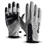 Cycling Gloves,Kekilo Winter PU Leather Waterproof Touchscreen Full Finger Gloves Men&Women Keep Warm,Windproof