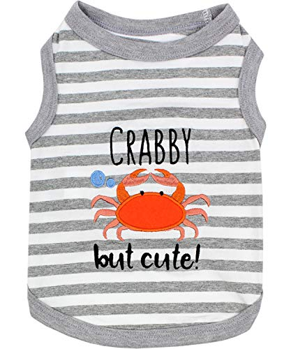 Parisian Pet Dog Summer Clothes | #039Crab#039 Funny Dog Tshirt with Embroidery Pattern Size M