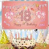 FORMIZON 18 Pancarta Feliz Cumpleaños, Extra Grande 18 Cumpleaños Pancarta para Foto Prop Fondo, Decoración de Fiesta de Cumpleaños de Rosa, Feliz Cumpleaños Decoracion, 180×110cm (70.8×43.3inch) (18)