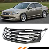 Fits for 2008-2010 8th Gen Honda Accord 4 Door Sedan Chrome Black Horizontal Front Grill Grille