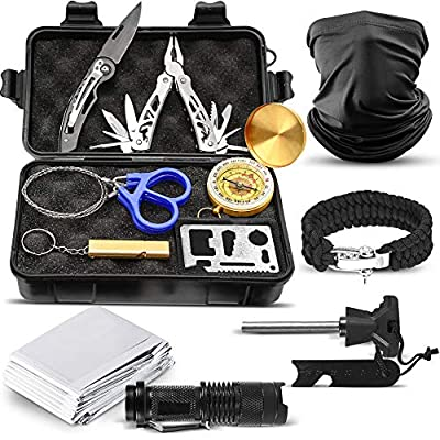 Survival Kit Tactical Outdoor Survival Kits - 12pc Essential Gear for Camping, Hiking, Hunting, Fishing, Men, Military EDC Emergency Tool Kit - Mini Defense Adventure Gadget Set in Waterproof Gift Box
