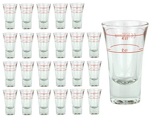 24er Set Schnapsglas DUBLINO mit Eichstrich, 2 cl + 4 cl in Einem, doppelt-geeichtes Spirituosenglas mit Füllstrich, Double Shot Glas, Stamper, hochglänzendes Markenglas, glasklar