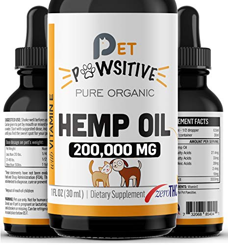 Pet Pawsitive - Hemp Oil for Dogs and Cats - Made in USA - Max Potency - Calming Aid - Separation Anxiety, Joint Pain, Stress Relief, Pains, Pet Relief - Omega 3, 6 & 9  100% Organic (2000MG)