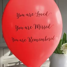 ANGEL & DOVE 25 Red 'You are Loved, Missed, Remembered' Biodegradable Funeral Remembrance Balloons - for Memory Table, Memorial, Condolence, Anniversary