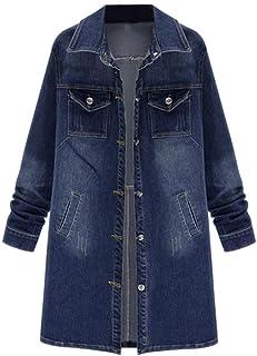 9334c4cb403d8 Rambling New Women Long Denim Jacket Casual Plus Size Denim Coat Outwear