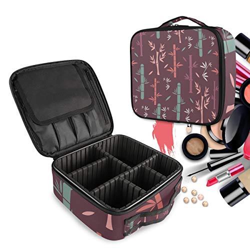 Bambou De Plante Trousse Sac Cosmétique Organisateur de Maquillage Pochette Sacs Cas avec Cloisons Amovibles pour Voyage Les Femmes Filles