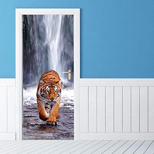 TMANQ Türtapete Selbstklebend Türposter Tier Tiger Wasserfall Landschaft 3D Bewirken Fototapete Türfolie Poster Tapete Abnehmbar Wandtapete Für Wohnzimmer Küche Schlafzimmer 77X200CM Wandbild Wohnkult