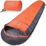Monzana Schlafsack 210 x 75 cm Polaris Mumienschlafsack -7°C Deckenschlafsack Outdoor Camping Wandern Zelten Orange
