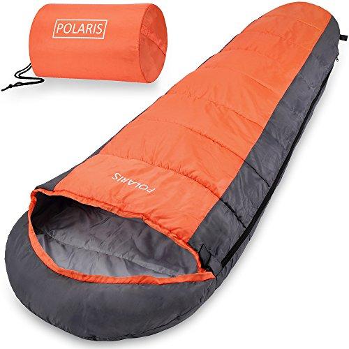 Monzana Schlafsack Polaris | Sommerschlafsack -7°C bis 10°C | Mumienschlafsack 210x75 cm | Deckenschlafsack orange-anthrazit