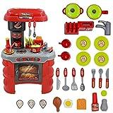 deAO Cocinita Moderna con Luces y Sonidos Cocina y Comida de Juguete Playset de Imitación Infantil Conjunto Incluye Accesorios
