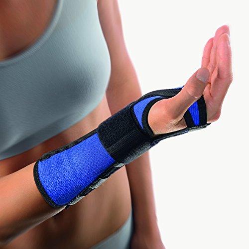 bort 103580 Arm- und Handgelenkschiene zur Unterstützung des Handgelenkes mit zusätzlichem Stabilo-Band rechts oder links, rechts large, blau