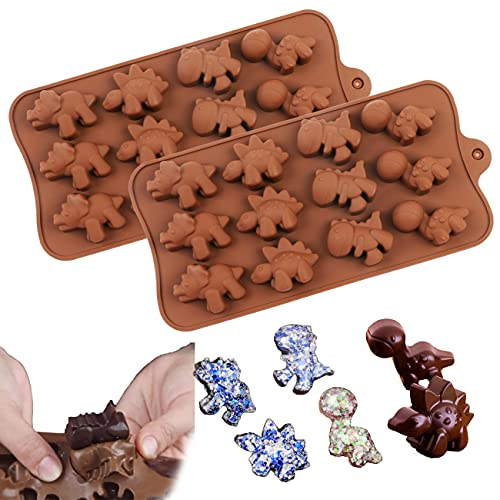 2 Pack Cute Dinosaur Shapes Patterns Silicone Mould Non-stick Mini Chocolate Cartoon Dinosaur Mold, DIY Mold for Making Candy Ice Cube Jelly Wax Crayons for Kids Children Boy Girl