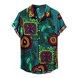 Wtouhe Herren Kurzarm Hemden Sommer Slim Fit Front-Tasche 3D Druck Blumen Hemd Angenehm Zu Tragen Stoff Gute QualitäT Hawaiianischer Stil Urlaub Mann BüGelfreie Hemden