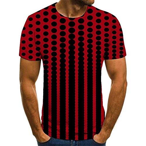 Qier Tshirt Herren Grafische Kurzarm-Oberteile, Baumwoll-T-Shirt, T-Shirts Mit 3D-Plaiddruck, Burgund, S.