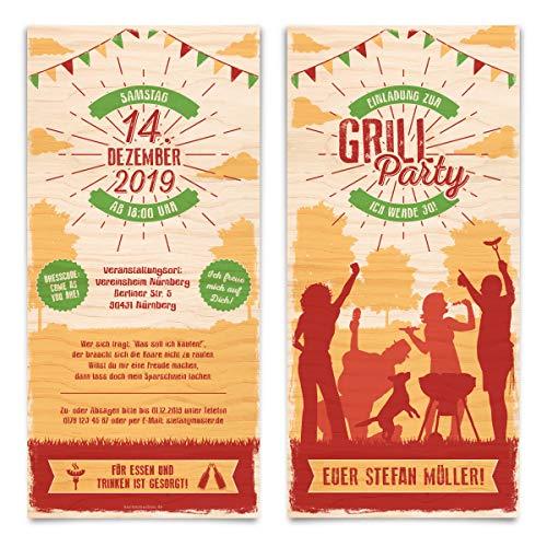 40 x Geburtstag Einladungskarten individuell Party Einladungen Grill - Grillparty