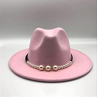 KCBYSS New Felt Hat Women Hats with Pearls Belt Vintage Trilby Caps Wool Fedora Warm Jazz Hat Hat (Color : Pink, Size : 55 58cm)