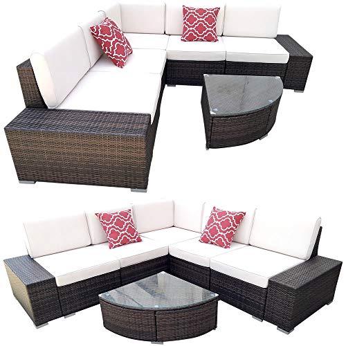Melko Polyrattan Lounge XXLSitzgruppe mit Tisch Gartenlounge Braun Sitzgarnitur inklusive Kissen Ecksofa Rattanmöbel