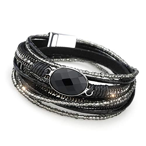 Suyi Women Wrap Bracelet Multilayered Leather Braided Bangle Wrist Cuff Bangles with Magnetic Buckle Black
