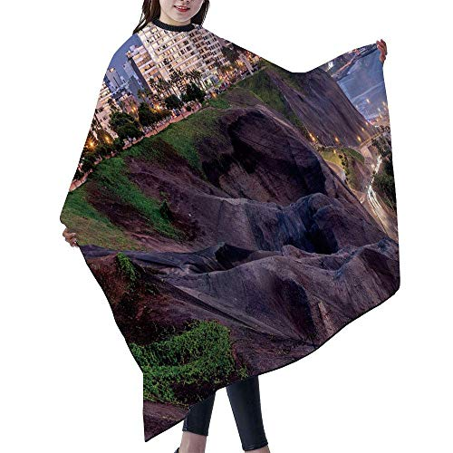 Waterproof Barber Cape - Haircut Gown Color Salon Styling Barbershop Supplies Hairdresser Cutting Apron 55×66 inch - The Pacific Coast of Miraflores in Lima, Peru No066079
