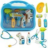 Ruby569y Juego de juguetes de simulación, juego médico para niños, juego de juegos médicos, carrycase estetoscopio juguete - azul con LED