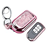 YIJINSHENG TPU Car Key Soft Plating Protection Shell Case Cover for Honda Civic, Accord, CR-V,Pilot Smart Key Keyless Remote FOB Shell Key Chains (Pink)