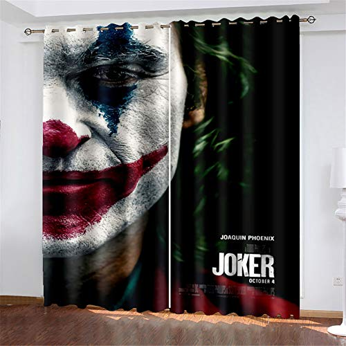 FACWAWF Household Simple Male And Female Clown Pattern Polyester Fabric Living Room Bedroom Balcony Study Blackout Curtains 184x160cm(2pcs)