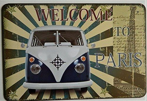 Plaque Métal Combi VolksWagen - 30 x 20 cm vintage WV welcome to Paris