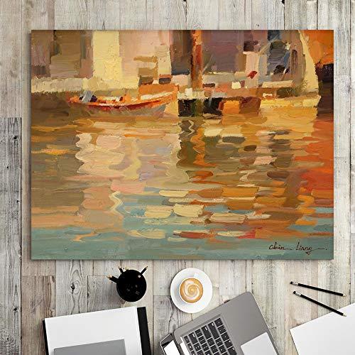wZUN Decoración del hogar impresión Lienzo Arte de la Pared Imagen Cartel Pintura Horizontal Pintura al óleo Barco de Pesca Orilla 50x70 Sin Marco