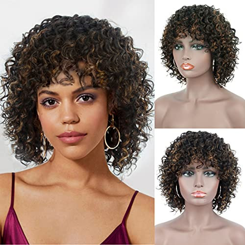 Brinbea 12 inch 100% Human Hair Wigs for Black Women Short Black Brown Highlights Full Wave Curls Wig with Hair Bangs