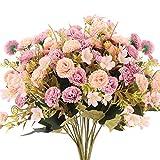 NAHUAA 2 Pezzi Fiore Artificiale Fiore Finto Pink Mazzo di Rose Artificiali Costituito da 5 Rami e 11 Rose Interno Esterno Bouquet Decorativo per Case, Feste, Matrimoni DIY