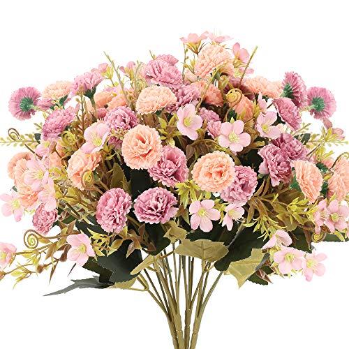 XHXSTORE 4pcs Künstliche Blumen Rosa Seidenblumen Hortensien Kunstblumen Pfingstrose Blumen Deko Unechte Blumen für Tischdeko Mittelstücke Party Hause Balkon Garten Büro Vase Tischdeko