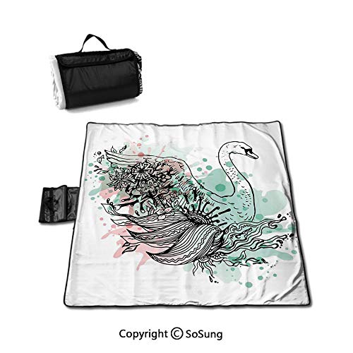 Why Should You Buy Animal Picnic Blanket with Tote,Hand Sketch Swan Bird Floral Details and Color Sp...