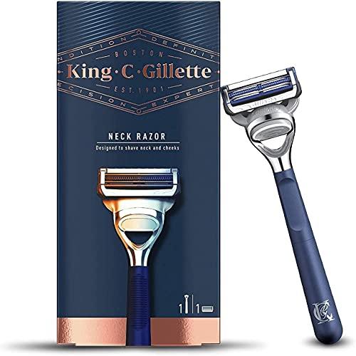 King C. Gillette nekscheerapparaat voor heren + 1 lemmet met uitstekende en scherpe messen van roestvrij staal voor baardverzorging