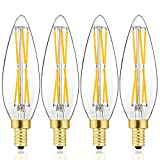 E12 LED Edsion Dimmable Candelabra Bulb, 3000K Soft White, 80-100Watt Light Bulbs Equivalent, 800LM, 8W LED Filament Candle Bulbs, No Flicker, Instant on, B11 Clear Glass Torpedo Shape, Pack of 4.